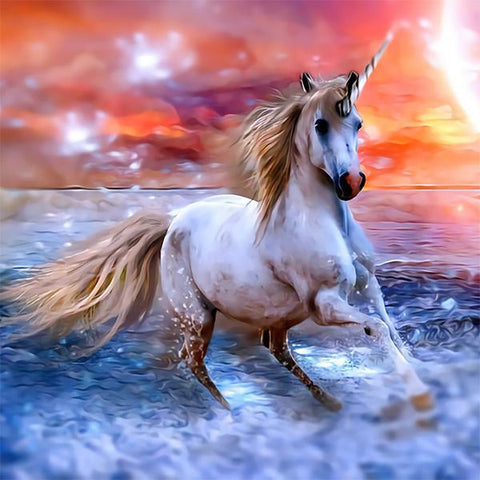Studio Diamond Paintings by Bob Ross | Unicorn At Sunset