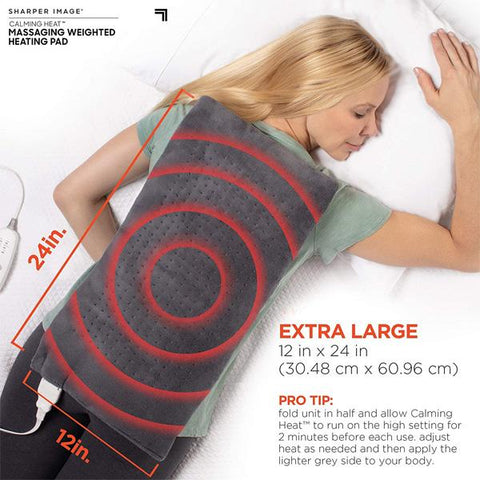 Sharper Image® Calming Heat™ Massaging Weighted Heating Pad