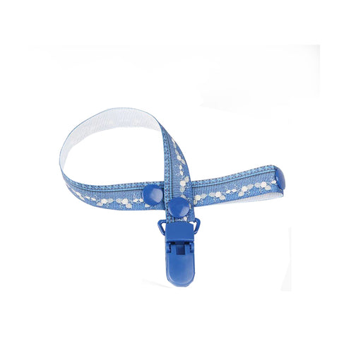 Navy Blue Pattern Pacifier Clip