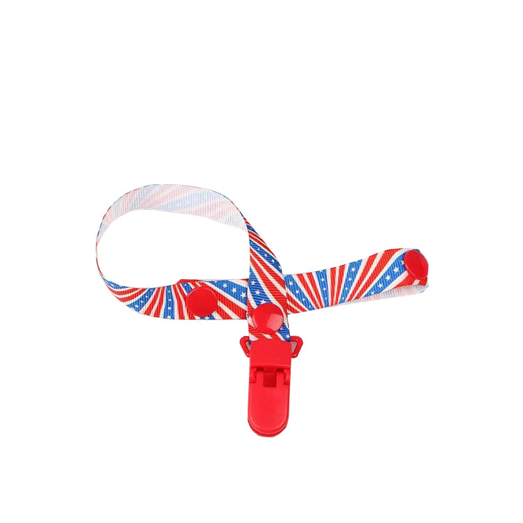 US Flag Pattern Pacifier Clip