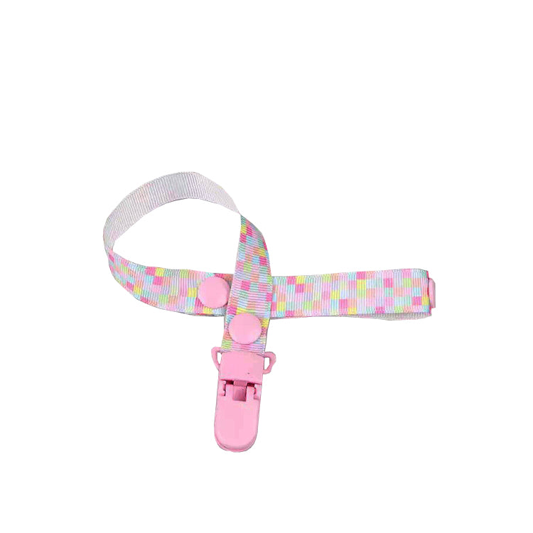 Pastel Checkered Pacifier Clip