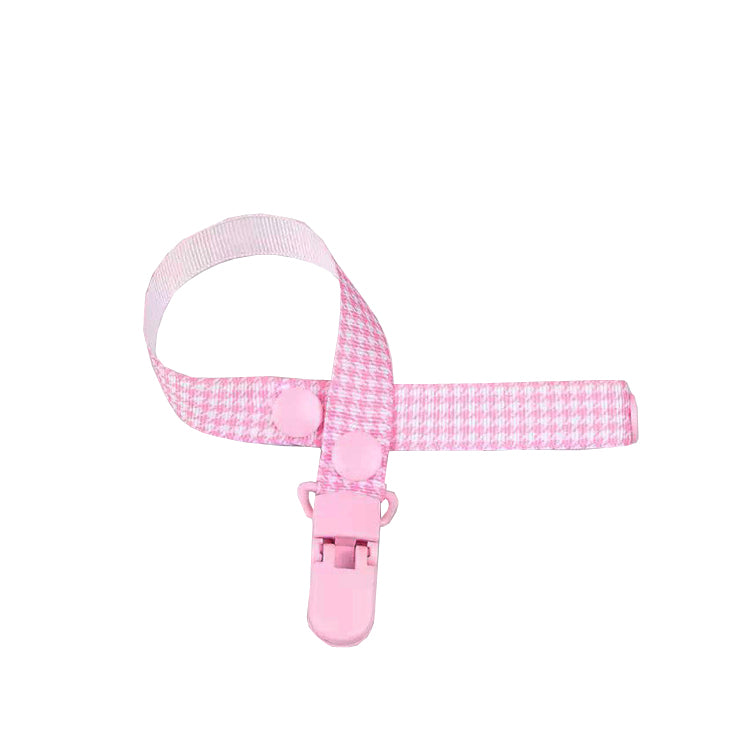 Pink Checkered Pacifier Clip
