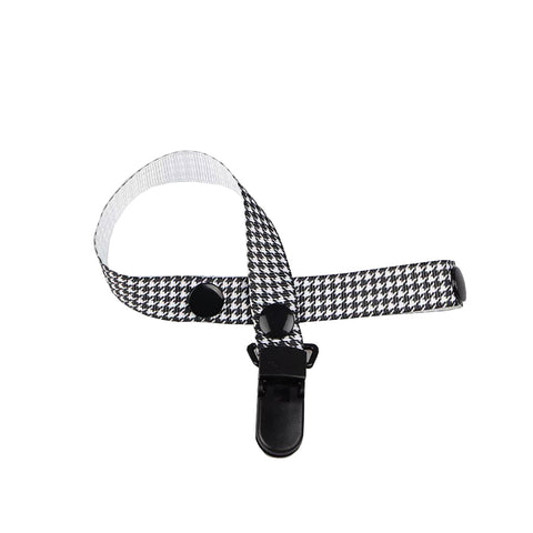Black Checkered Pacifier Clip