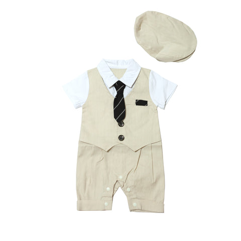 Eddie's Cream Smart Romper with Hat Set