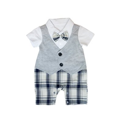 Grey Vest with Checkered Pants Romper