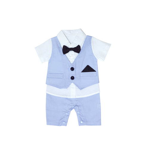 Charming Blue Smart Romper with Bow Tie