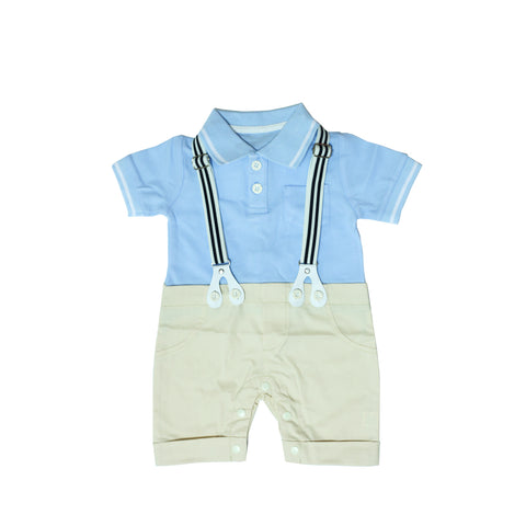 Blue Polo Romper with Detachable Suspender