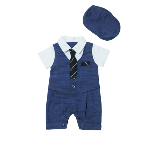 Eddie's Navy Blue Smart Romper with Hat Set