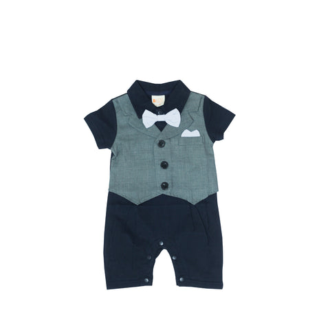 Navy Blue Romper with Vest
