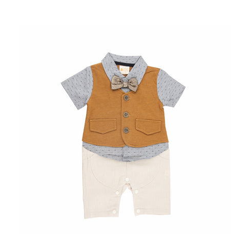 Charlie Brown Vest Romper with Bronze Tie