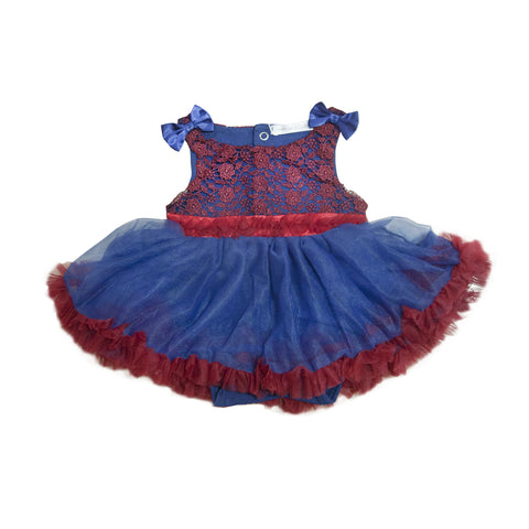 Aurora Blue with Red Lace Fluffy Romper