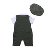 Eddie's Navy Grey Smart Romper with Hat Set