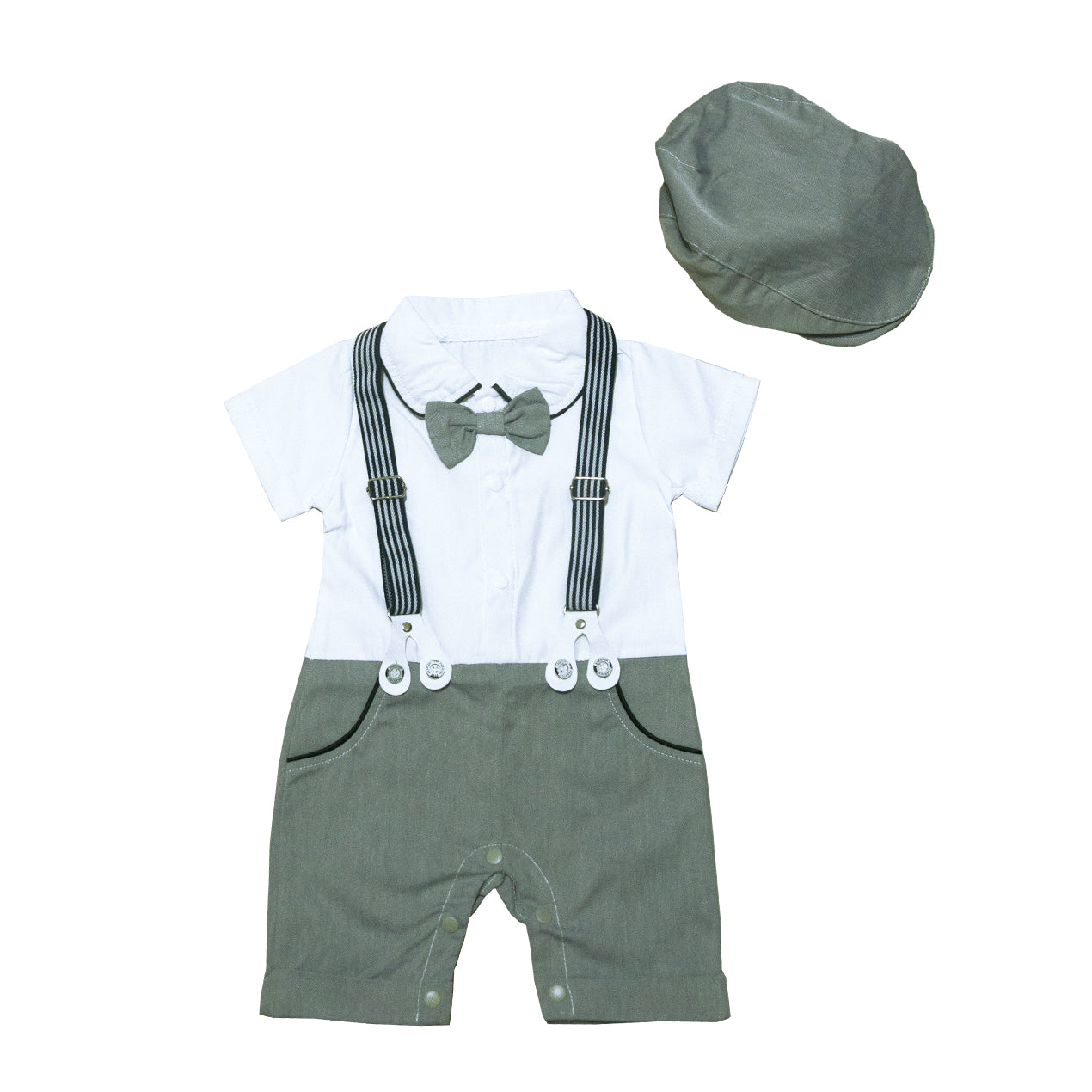 Johnson's Shirt Romper in Grey with Hat Set