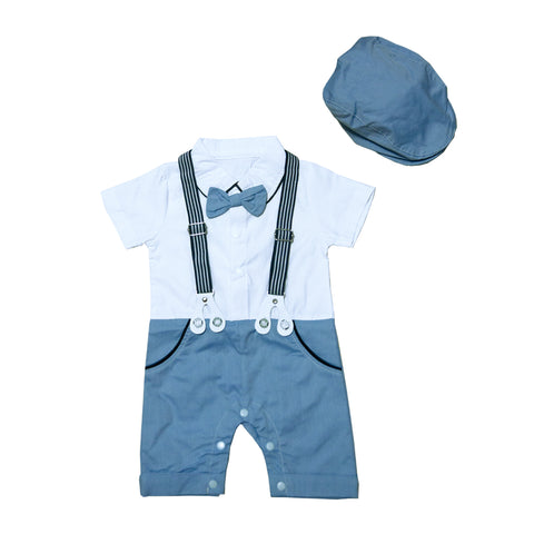 Johnson's Shirt Romper in Blue with Hat Set
