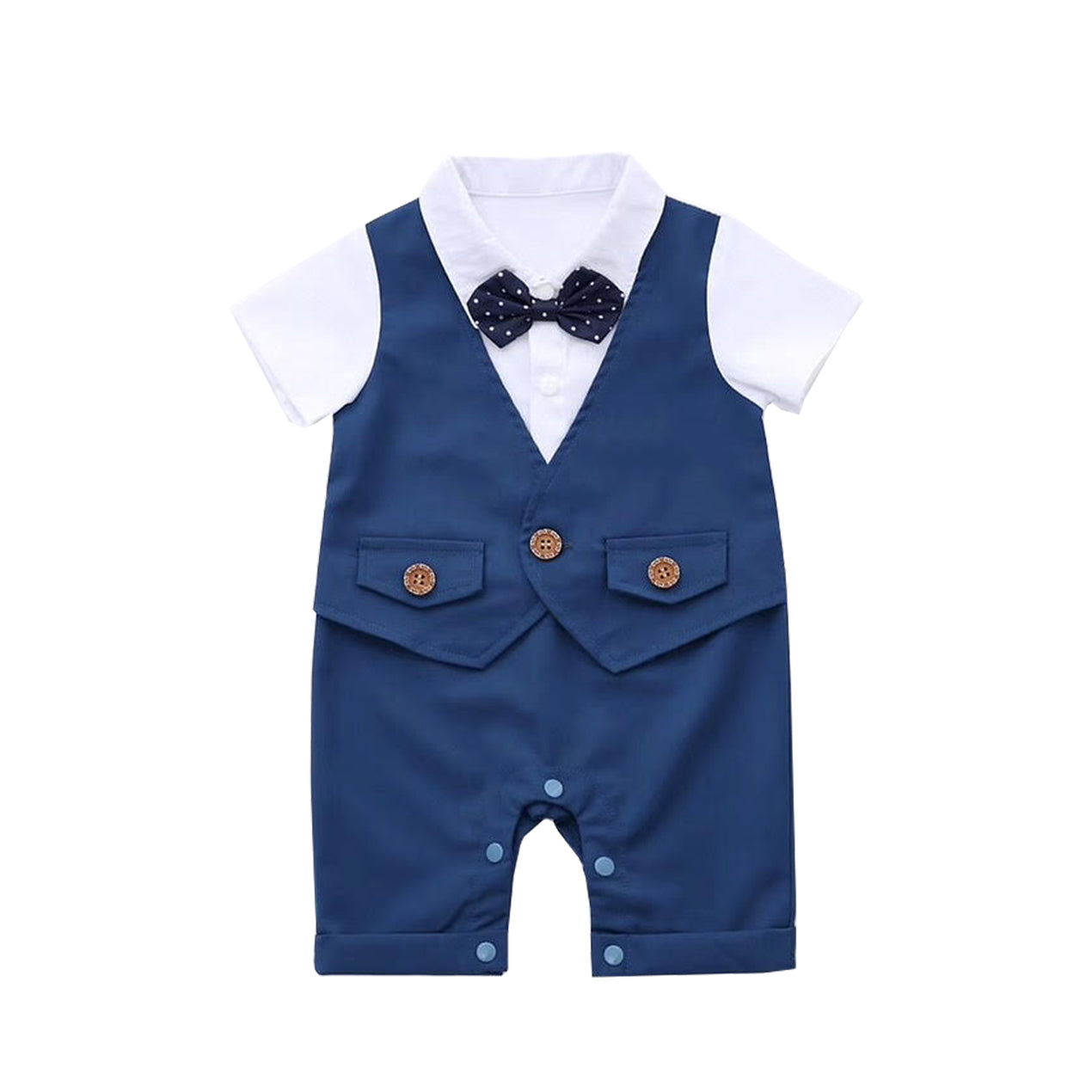 Prince Blue Suit w Polkadot Bow Tie Romper