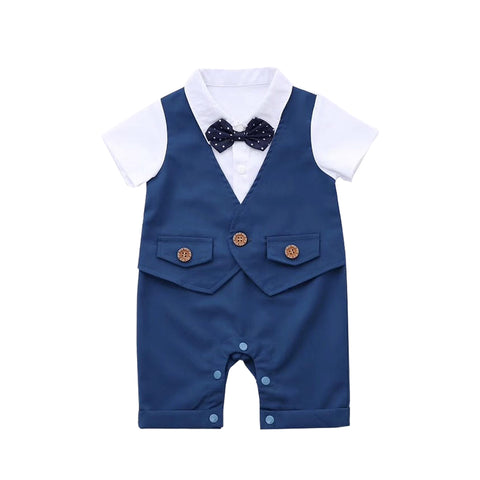 Prince Blue Suit with Pokadot Bow Tie Romper