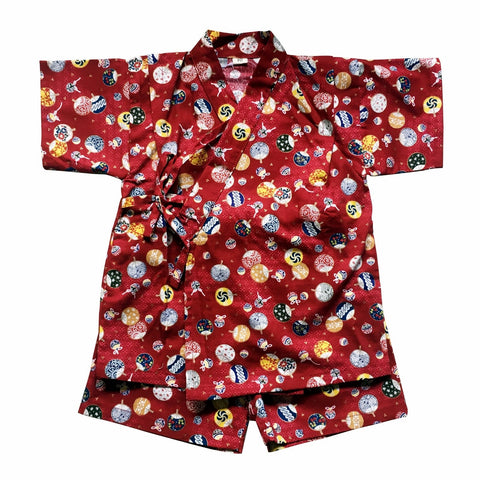 Okiddo Bronzing Uchiwa Boy/Girl Suit (Red)
