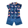 Shirt & Shorts Set - Dark Blue Dino Prints