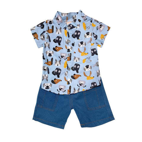 Shirt & Shorts Set - Blue Dog Prints