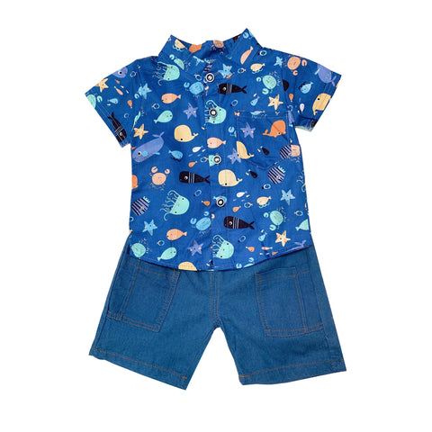 Shirt & Shorts Set - Blue Marine