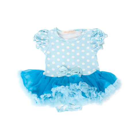 Light Blue Pokkadot Fluffy Romper
