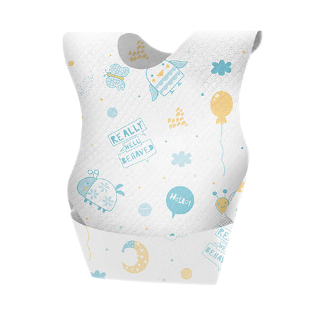 Disposable Baby Feeding Bib - Blue & Yellow