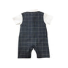 Grey Checkered Baby Tux Romper