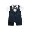 Blue with Grey Bow Tie Baby Tux Romper
