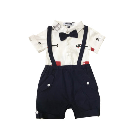 Dark Blue Suspender with Car Prints Shirt Romper