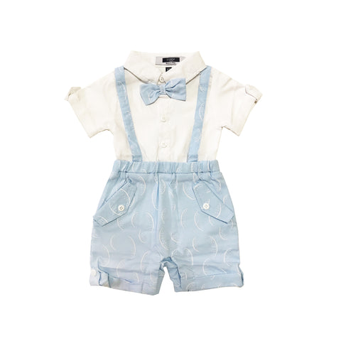 Baby Blue Suspender with Melon Prints Shirt Romper