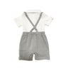 Stylish Grey Suspender Shirt Romper