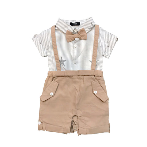 Khaki with Stripes Suspender Shirt Romper