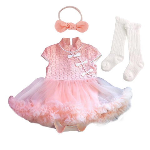 Peach Cheongsum Fluffy Tutu Romper Set