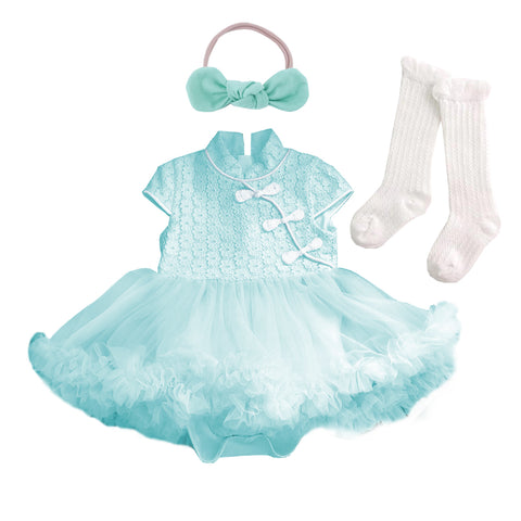 Tiffany Cheongsum Fluffy Tutu Romper Set