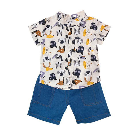 Shirt & Shorts Set - Cream Dog Prints