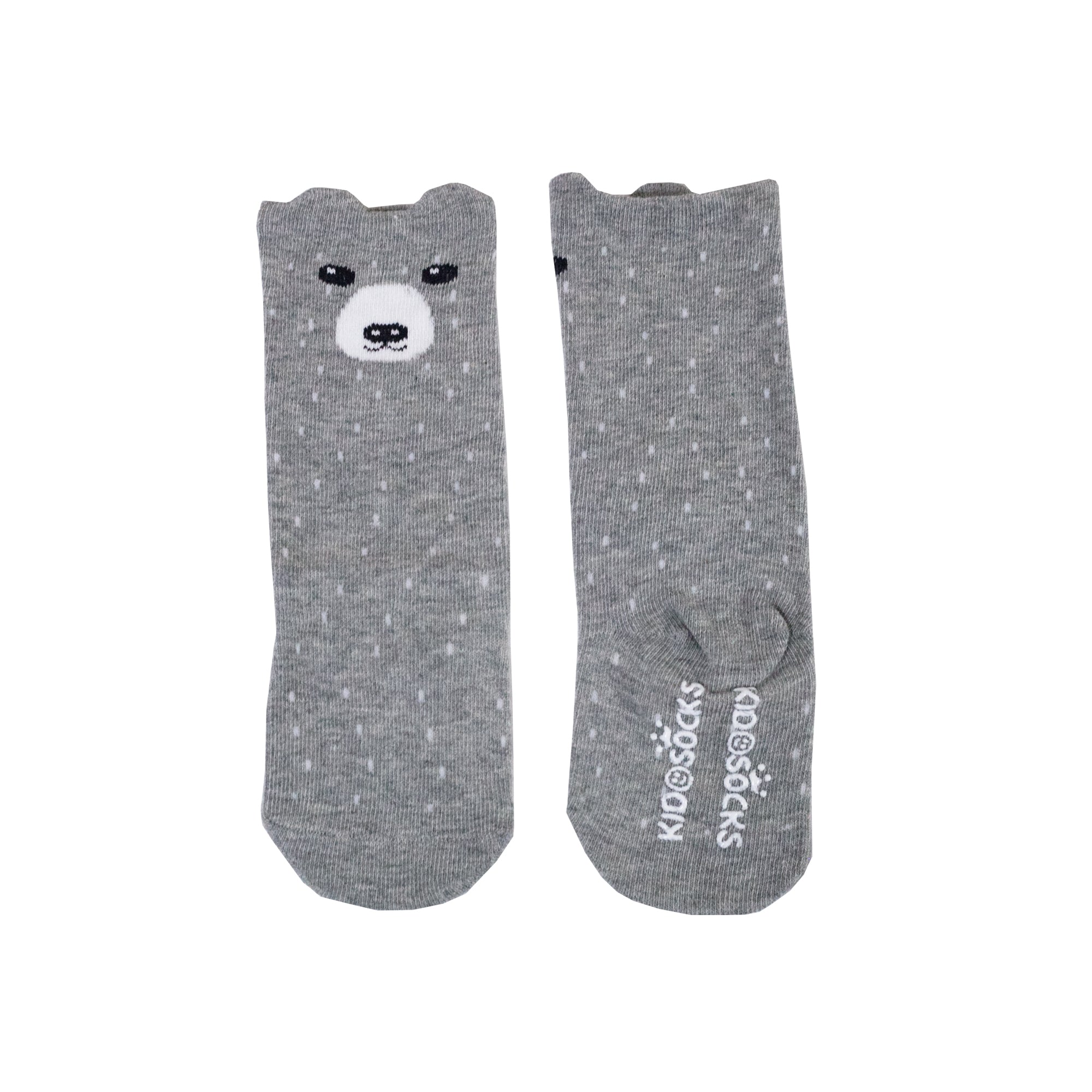 Grey Bear Dots Long Socks