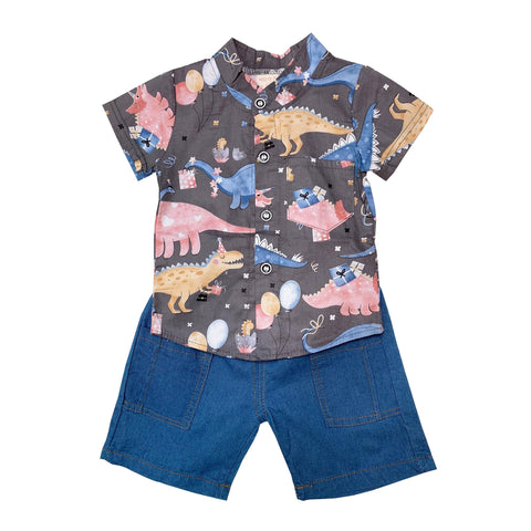 Shirt & Shorts Set - Grey Dino Prints
