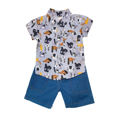 Shirt & Shorts Set - Grey Dog Prints