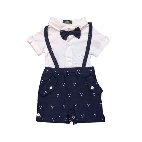 Dark Blue Suspender Shirt Romper