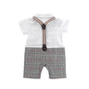 White Polo Romper w Detachable Suspender