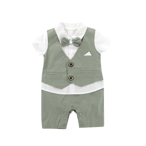 Olive Green Vest with Bow Tie Romper