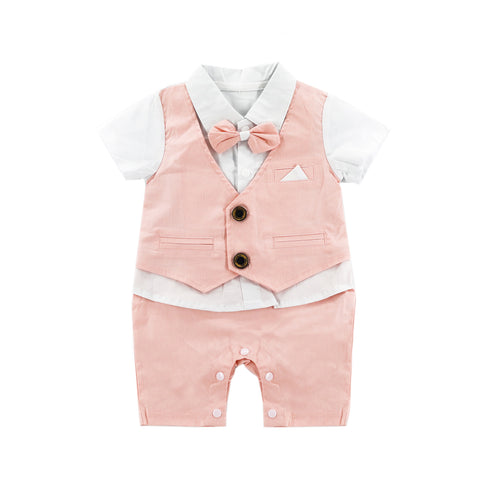 Charming Pink Vest with Bow Tie Romper