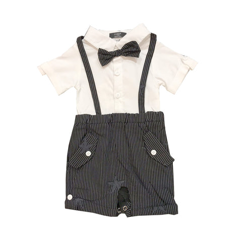Black Stripes Suspender Shirt Romper