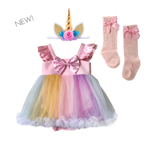 Rainbow Unicorn Fluffy Romper Set