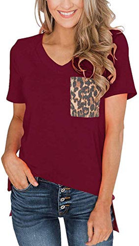 Women's Short Sleeves Casual Loose V Neck T Shirts