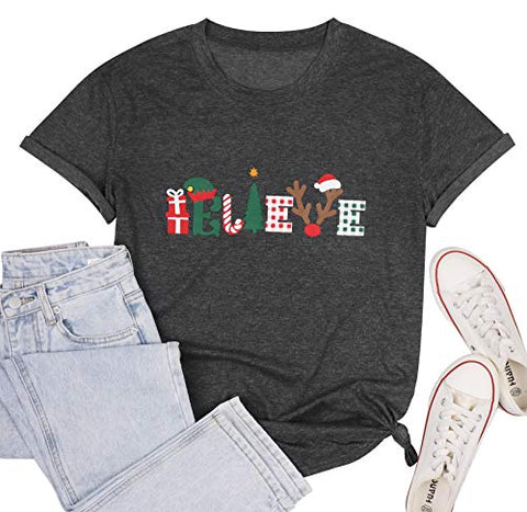Believe Tree Shirt Cute Short Sleeve Graphic Tee Shirts