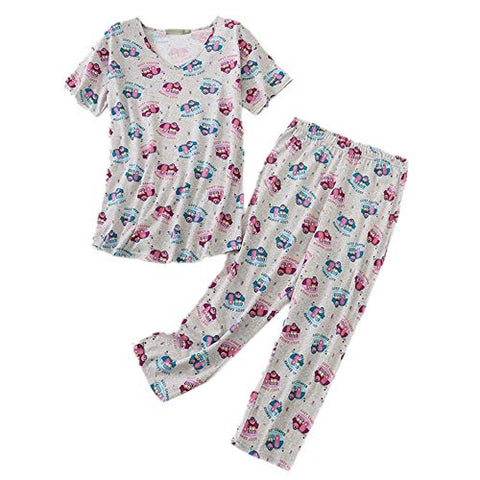 Women's Pajama Set - Cotton-Blend Short-Sleeve Loose Top with Matching Capri Bottoms