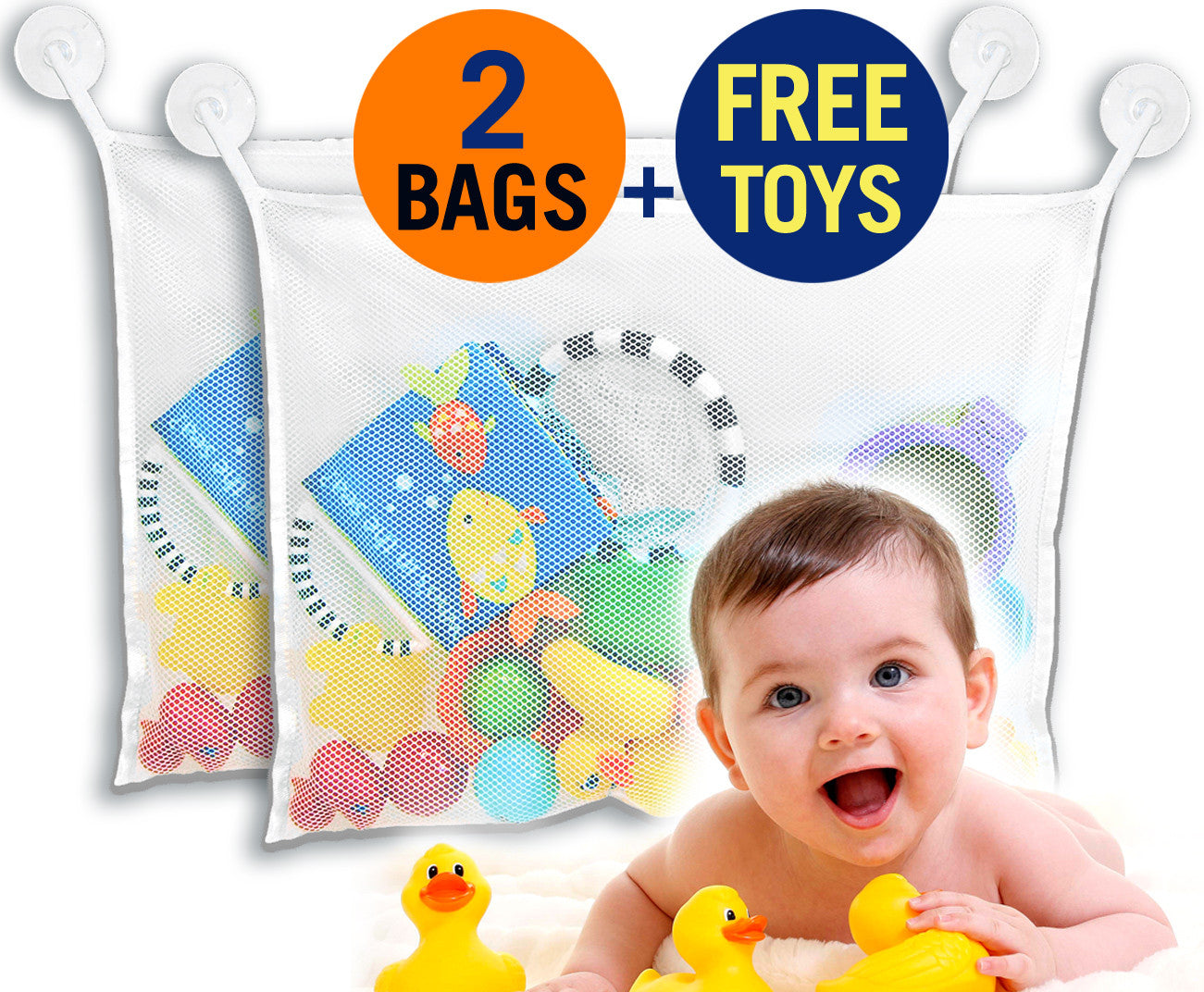 (2 Bags) Best Four Sea Squirts Baby Bath Toys PLUS Bath Toy Organizer from MoriBerry Offer Large Storage Basket for Baby Boys and Girls - Strongly Suctions to Tile and Glass - Washable Mold Resistant. Get Your Bathroom Organized Now!