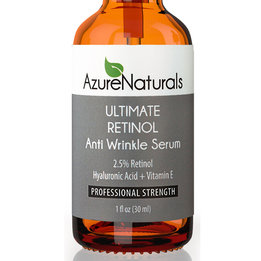 Ultimate Retinol Anti Wrinkle Serum With 25 Azure Naturals Vitamin E Hyaluronic Acid Facial Oil Skin Care Aging Moisturizing