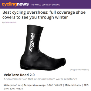 CyclingNews: veloToze Tall 2.0 Shoe Covers in Best Overshoe list